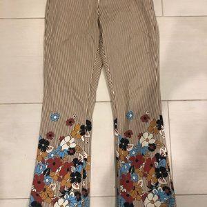 Floral, striped pants